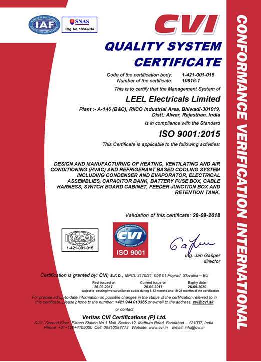 Welcome To Leel Electricals Limited